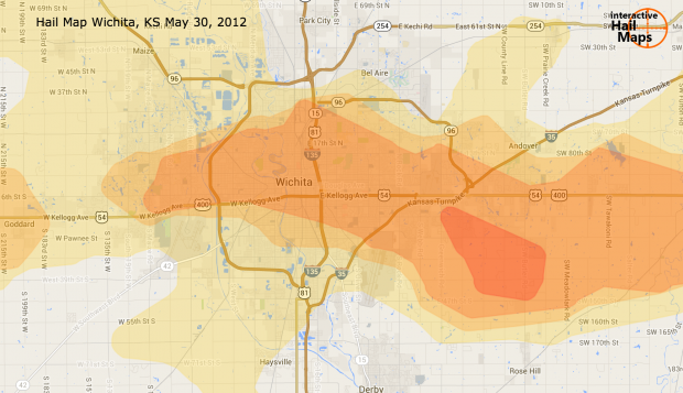 Map of Wichita Kansas Hail Storm May 30th, 2012