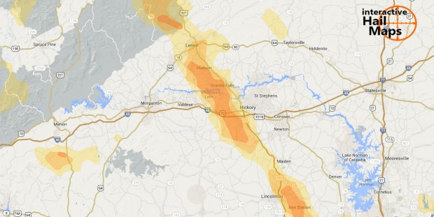Hail Map Hickory, North Carolina July 1, 2012