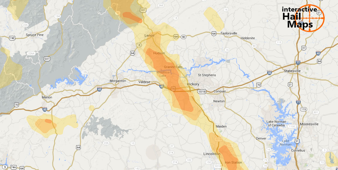 Hail Map Hickory NC