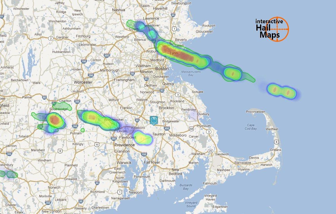 Hail Map Boston, MA and Providence, RI, July 18, 2012 - Interactive ...