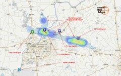 Hail Map Northern Suburbs of Louisville, KY July 24, 2012