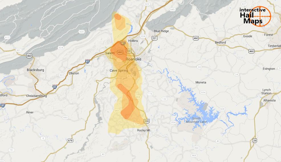Hail Map Roanoke Virginia