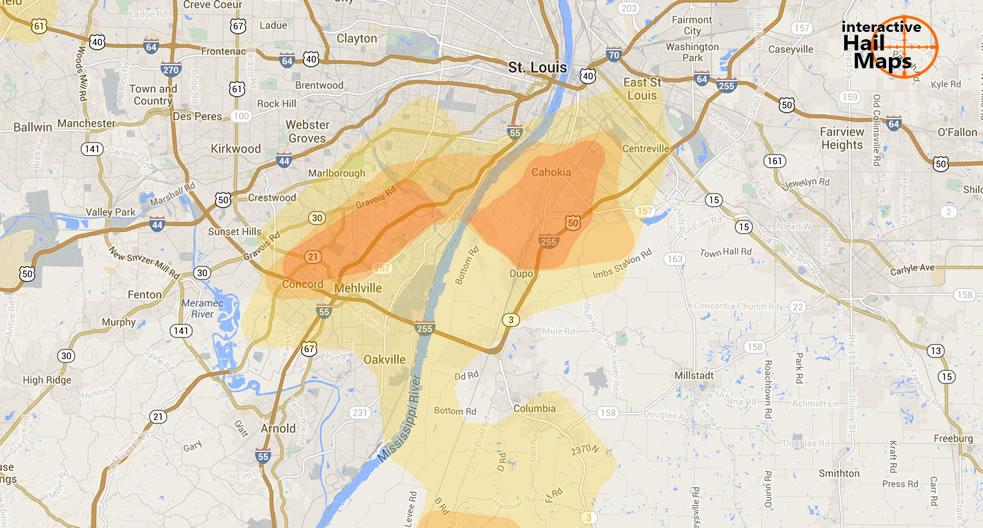 Hail Map Southern Saint Louis