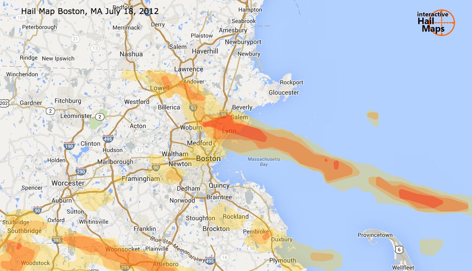 Hail Map Boston MA July 18 2012