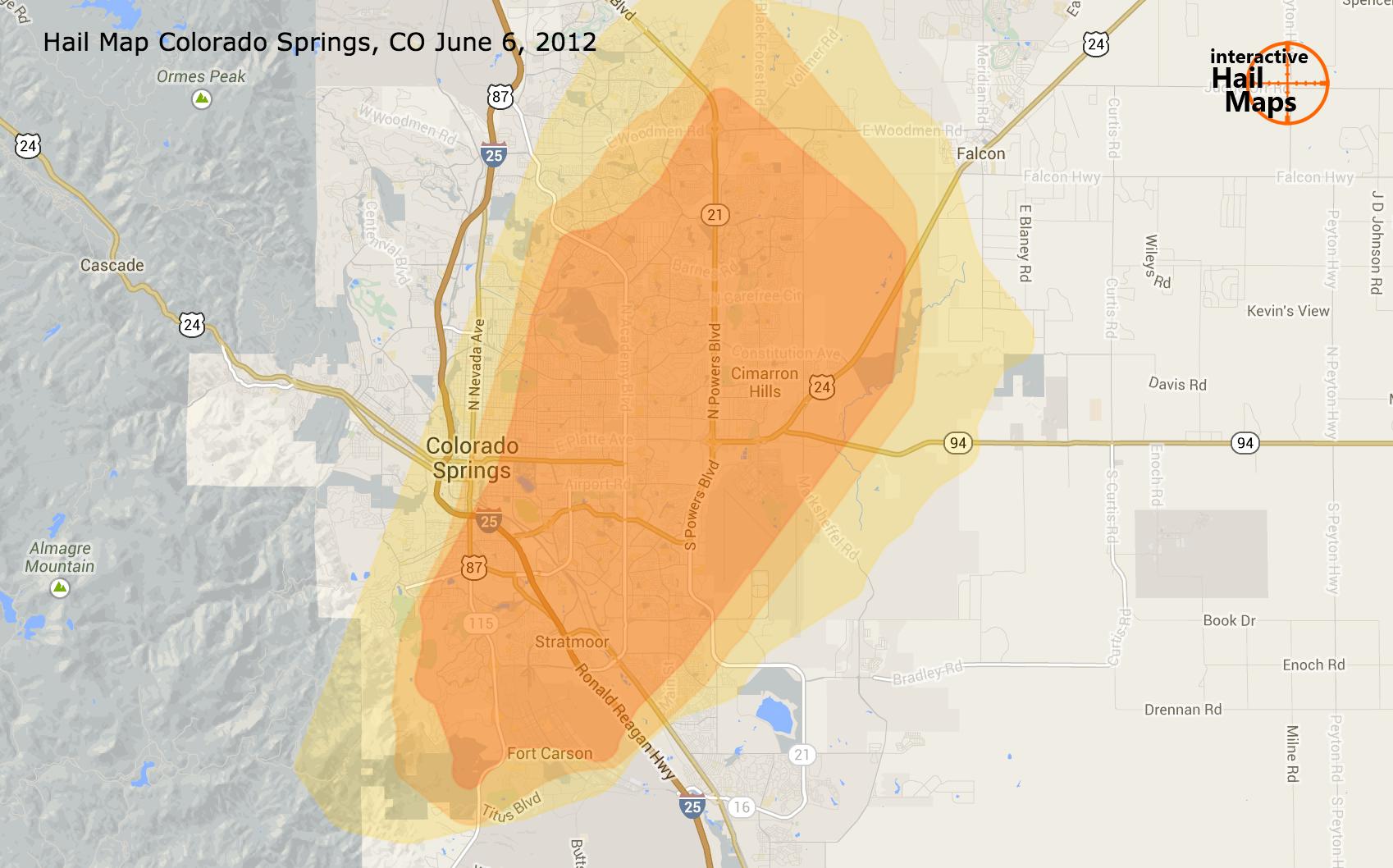 Hail Map Colorado Springs CO June 6 2012