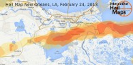 Hail Map New Orleans, Louisiana February 24, 2013