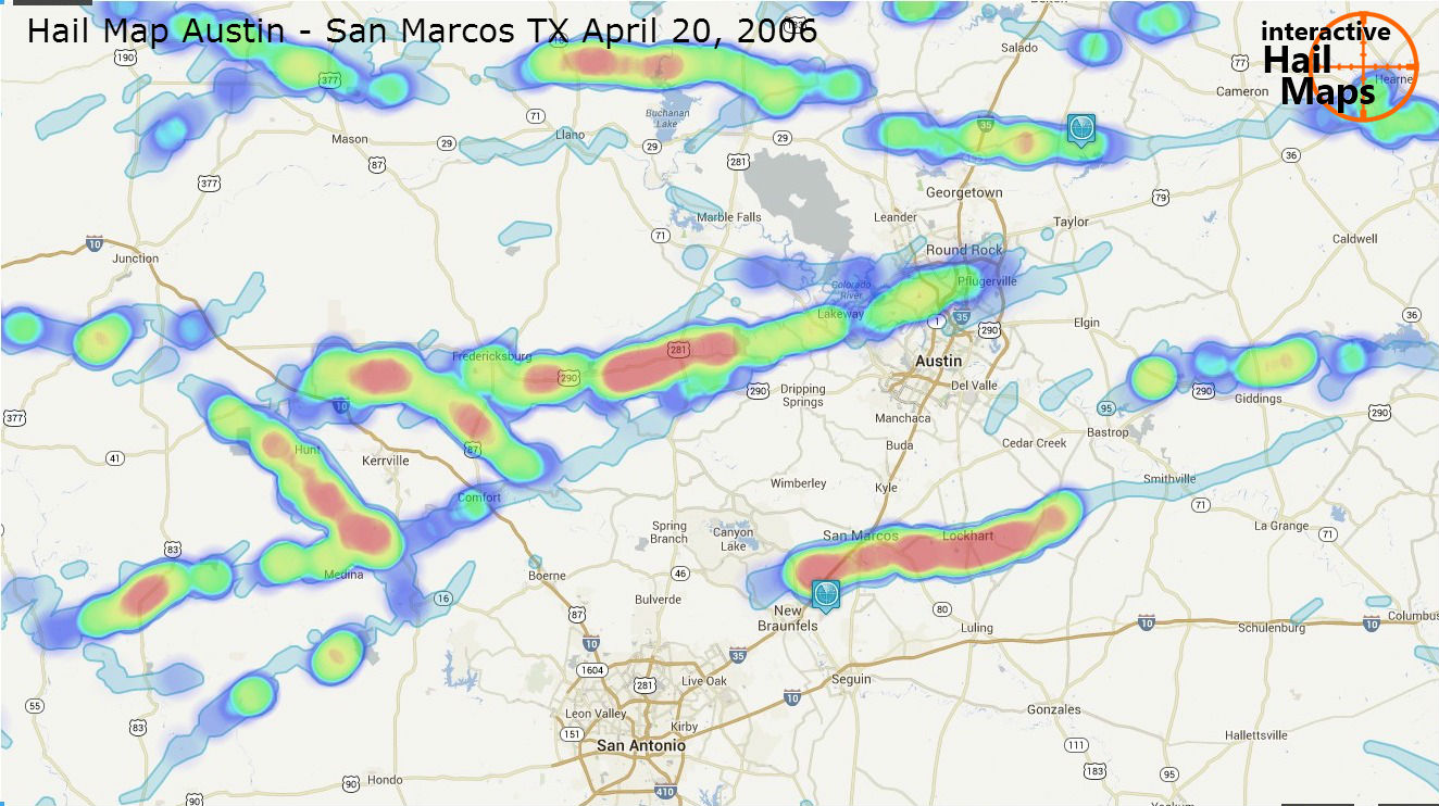 Hail Map Austin - San Marcos Texas May 20 2006