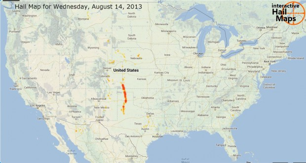 Hail Map for Wednesday, August 14, 2013