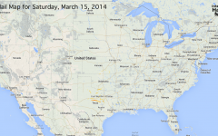 Hail Map for Saturday, March 15, 2014