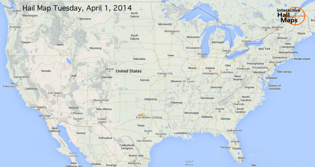 Hail Map for Tuesday, April 1, 2014