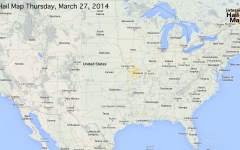 Hail Map for Thursday, March 27, 2014