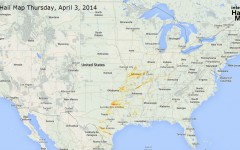Hail Map for Thursday, April 3, 2014