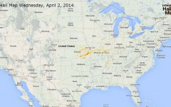 Hail Map for Wednesday, April 2, 2014