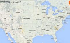 Hail Map for Friday, May 23, 2014