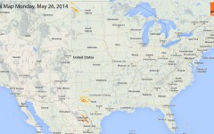 Hail Map for Monday, May 26, 2014