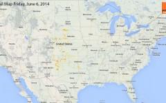 Hail Map for Friday, June 6, 2014