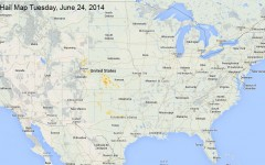 Hail Map for Tuesday, June 24, 2014