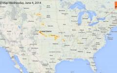 Hail Map for Wednesday, June 4, 2014