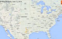Hail Map for Thursday, June 12, 2014