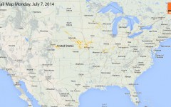 Hail Map for Monday, July 7th, 2014
