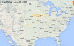 Hail Map for Monday, June 30, 2014