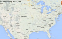 Hail Map for Saturday, July 5th, 2014